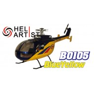 HeliArtist 450 BO105 Fiber Glass Fuselage(Yellow Blue)